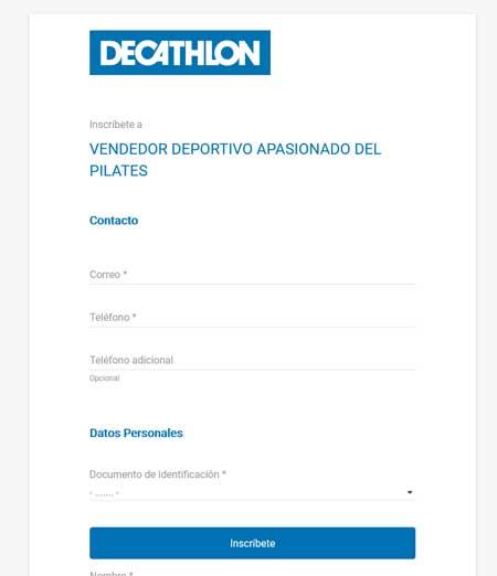 Mi informacion personal para trabajar en Decathlon