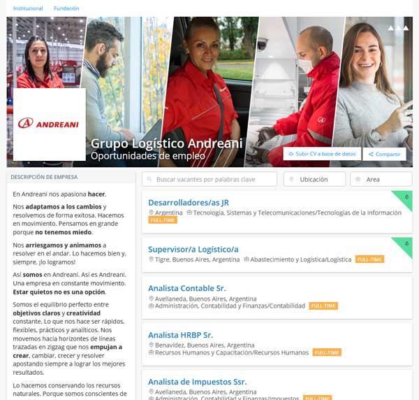 Puestos de trabajo disponibles en Andreani