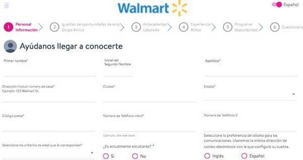 Postularse para trabajar en Walmart
