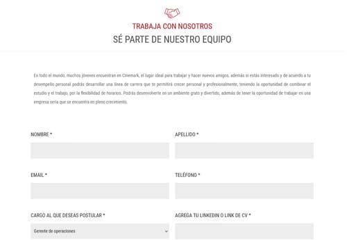 Enviar Cv a Cinemark Paraguay